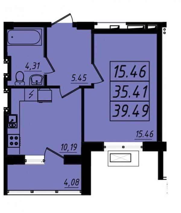 Планировки однокомнатных квартир 39.98 м^2